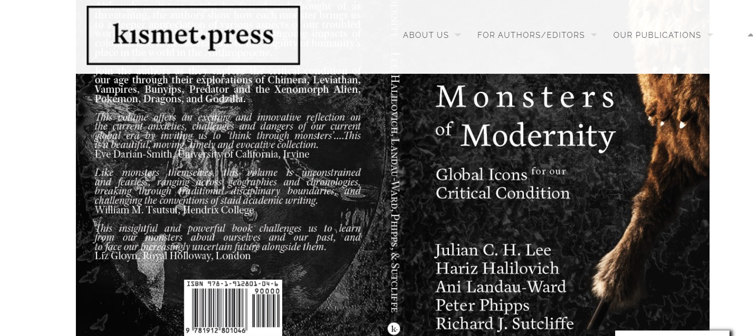 Monsters of Modernity book cover on the Kismet website